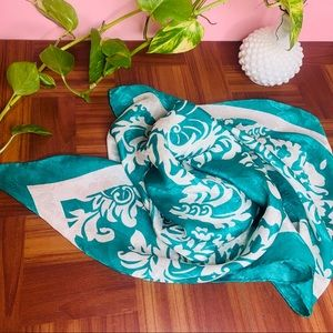 vintage square emerald green cream silk scarf